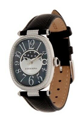 9d0b229eeb4 Judith Ripka Stainless Steel Leather Strap Moon Phase Watch Silver Black  NEW!