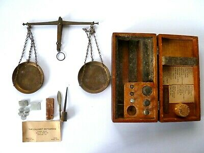 Antique vintage brass or copper balance scale w/ wood box. RARE !!