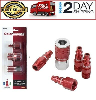 RED COUPLER PLUG Kit M Style Fitting Compressor Air Tool