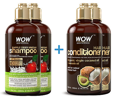 WOW Sulfate Free Shampoo and Conditioner - Natural Dandruff Cleanser - 2 Pack