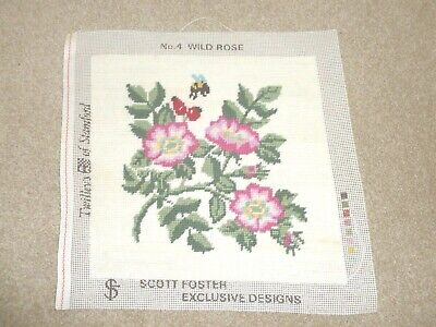 Lovely hand-stitched completed wool tapestry by Twilleys Wild Rose