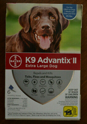 Bayer K9 Advantix II Extra Large Dogs over 55 lbs, Six Month Supply, 6 Pack