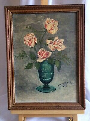 Antique Vintage Oil Painting on Canvas SIGNED, STAMPED LITTLE GALLERY Vase ROSES