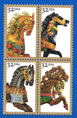 US 2976 - 79 Carousel Horses Block of 4 Stamps Mint Never Hinged  2976 - 2979