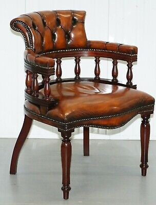 Lovely Restored 1960 Chesterfield Vintage Brown Leather Directors Captains Chair