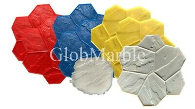 Concrete Stamp Mats. Set of 8 Pc GlobMarble SM 1901. Random Stone stamp mats