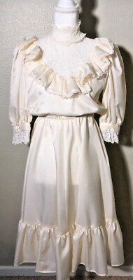 Vtg White Cream Dress Lace Ladies 1970's-1980's handmade victorian gibson girl
