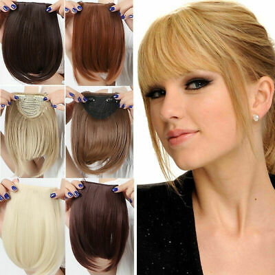 UK charming Clip On Clip In Front Bangs Fringe Hair Extension Straight one piece