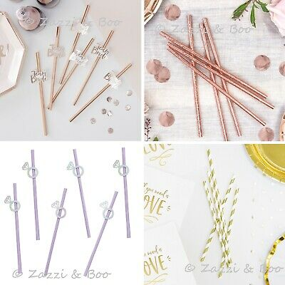 Hen Party Rose Gold Team Bride Paper Straws Diamond Ring Bride to Be Party Decor
