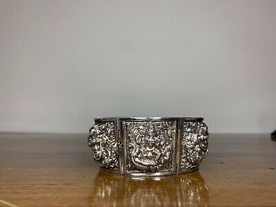 Antique Anglo Indian Colonial Silver Swami Bracelet. Madras 1870. Superb Quality