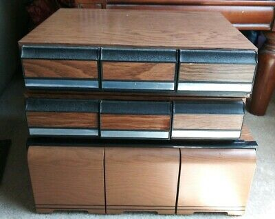Hearty Wood With Wood Veneer 36 Cassette Tape 3 Drawer Storage Case Box Holder #1 Music