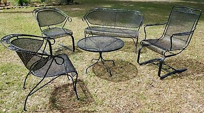5 Piece Russell Woodard Wrought Iron Patio Furniture Set Mid Century