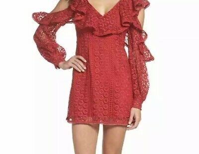 05122663f94 French Connection NEW Red Women's Size 4 Lace Ruffle Sheath Dress $198 #325