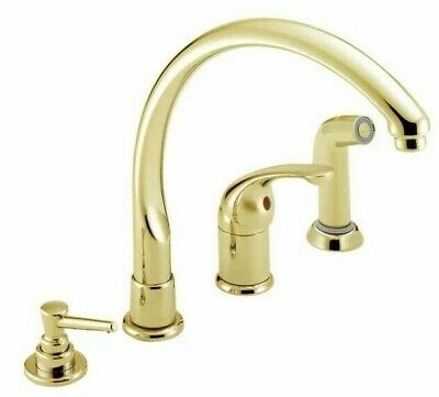 Delta Waterfall 174 Pbwf Polished Brass 4 Hole Kitchen Faucet W Soap