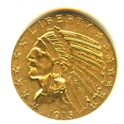 1915 S $5.00 Gold Indian Half Eagle Early Gold Coin San Francisco Mint Gold