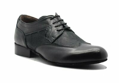 Volver M64 Argentine Tango Mens Dance Shoes On Leather Soles. Black Leather
