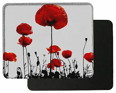 Poppy remembrance Flanders Field Leather Mouse mat PC Pad D2