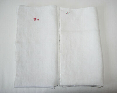 Two Antique Vintage French Linen Towels Monogram