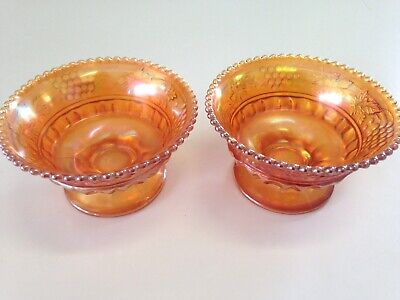 2-Northwood Carnival Glass Marigold Grapes & Cable Compote Sherbert Bowl Vintage