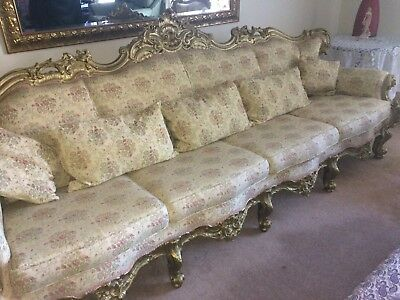 Antique-French-Louis-XVI-Style-Giltwood-Salon Suite 4 Seater Settee  2 Armchair