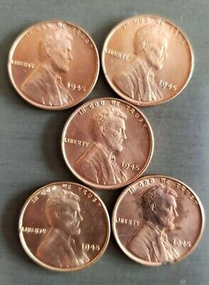 Nice Lot of Five Gem BU 1945-P Lincoln Cents