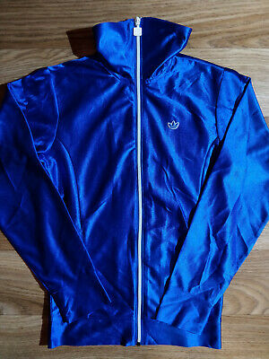 Adidas Originals Vintage Womens Tracksuit Top Jacket Shiny Neon Blue Hype
