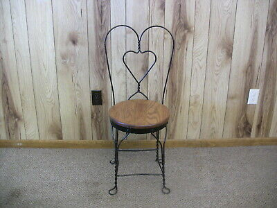Vintage Ice Cream Parlor Chair Wood Iron Bistro Cafe Patio Nook Furniture 1980s