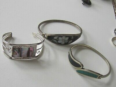 3 Vintage Alpaca Mexican Silver Turquoise, Mop, Abalone, Hinged & Cuff Bangles