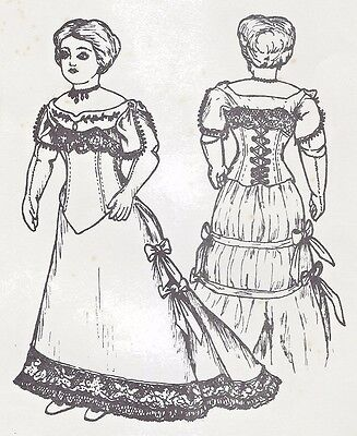 """Antique 1893 Holiday Outing Doll Dress Pattern #34 Betty Bailey Originals 24/"""""""