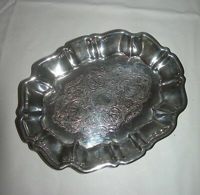 Vintage Victorian FOOTED Vanity Jewelry TRAY~Ornate Etch Art Nouveau~SILVERPLATE