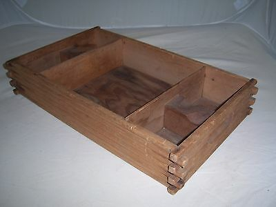 Vintage Primitive Wood Box Tray-Overlaping Joints~Rustic-Cabin-French Country