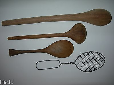 """Vintage 3 Wooden Spoons~18"""" Country Primitive Large Wood Spoon laddle&Wire Spoon"""