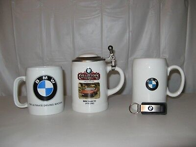 set 3 BMW Steins-Coffee Cup~Beer Mug~Key-chain Auto Advertising~Red M1 Coupé