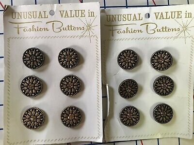 Vintage New Old Stock Buttons Crafts Sewing Black Gold Tone Lot of 12 #364