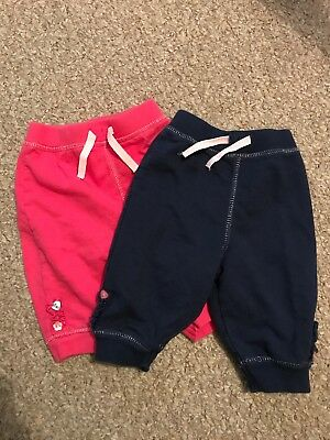 Bluezoo Baby Girls Joggers Trousers 3-6 Months Pink Navy Blue