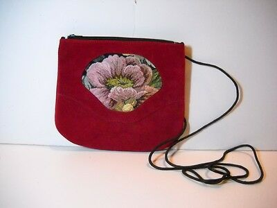 Hand-Crafted~Magenta Suede w/Floral Tapestry Insert~Low Profile~Cross Body Purse