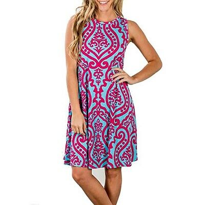Womens Sundress Floral Holiday Sleeveless Summer Printed Casual Loose Dress