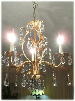 Vintage 3 Light Italian Gilded Tole Petite Chandelier With Prisms