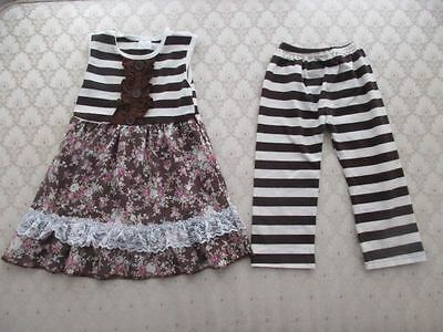Kid Girls' 2-Pc Bohemian BRWN Stripe/Floral Tunic w/BRWN Stripe Pant Set, Sz 3/4