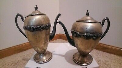 Lot of 2 Vintage Academy Silver on Copper Tea/Coffee Pots with Berry wreath