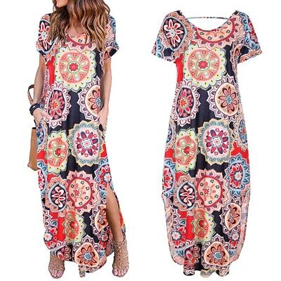 Womens Loose Printed Maxi Dress Short Sleeve Casual Floral Beach Split Sundress