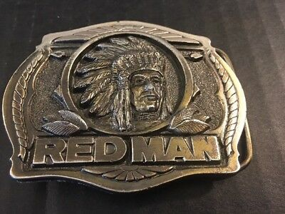 88's Vintage Limited Edition Red Man Chewing Tobacco Heavy Brass Belt Buckle