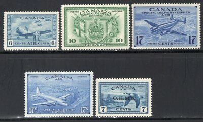 Canada 1940's 5 Good Airmail-Special Delivery Stamps MNH Incl #CO1