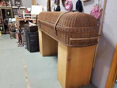 Antique Wicker Victorian Era 1880s Cooling Casket Coffin Adult Sz Excellent Cond