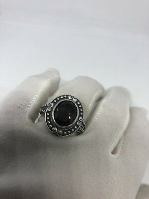 Vintage Genuine Brown Smoky Topaz 925 Sterling Silver Deco Size 7 Ring