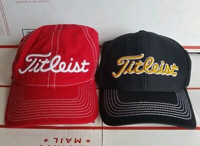 Titleist Golf Hat Lot of 2 Unisex Adjustable & fitted  PRO V1 Footjoy black red