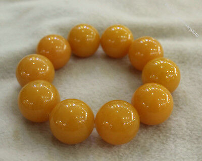 Collect Chinese Chicken oil yellow Beeswax Carved Buddha Bead bracelet bangle Z