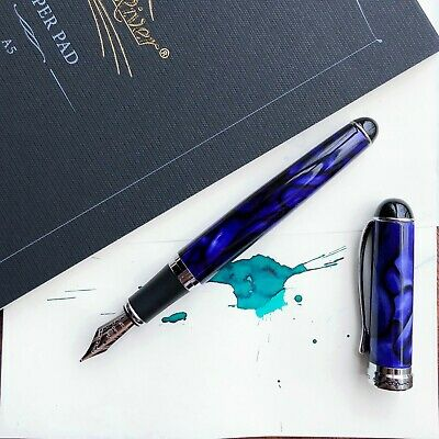 JINHAO X750 Blue Marble With Silver Plated Trim Fountain Pen Fine Nib