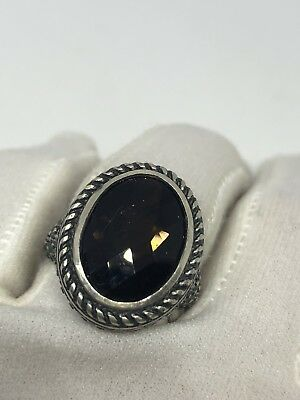 Vintage Genuine Brown Smoky Topaz Matte 925 Sterling Silver Deco Size 7 Ring