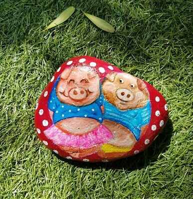 Hand Painted Rock - Happy Piggies